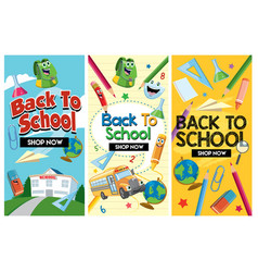 Back to school flyer design set vector