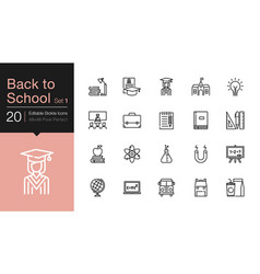 back to school icons set 1 modern line design vector image