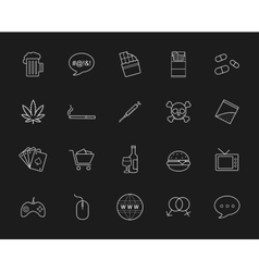 Bad habits chalk linear icons vector image