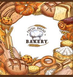 bakery shop poster with bread sweet pastry sketch vector image