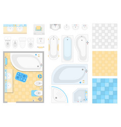 bathroom elements - set of modern objects vector image