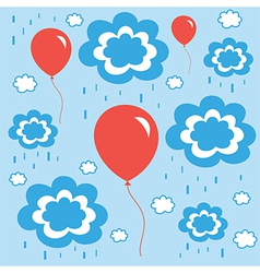 Beautiful background with balloons clouds and rain vector