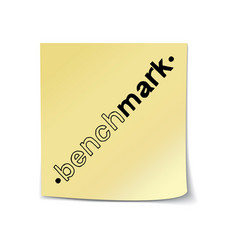 Benchmark lettering on sticky note template vector