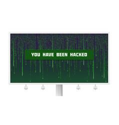 Billboard with binary computer code cyberspace vector