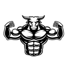 Black and white of a bull bodybuilder vector