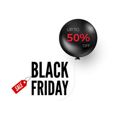 black balloon with discount offer friday vector image