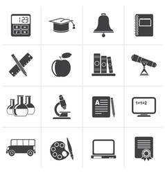 Black Education and school objects icons vector