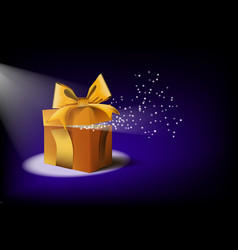 blue open mist gift box with magical light vector image