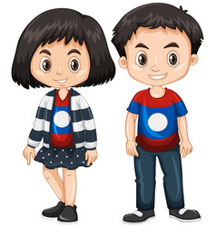 boy and girl wearing shirt with laos flag vector image