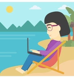 Business woman working on laptop on the beach vector image