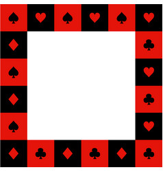 Card suits red black white chess board border2 vector