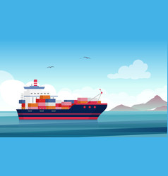 cargo ship flat container vector image