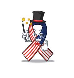 Cartoon usa ribbon with in character magician vector