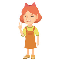 Caucasian little girl showing victory gesture vector