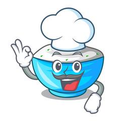 Chef sour cream in a wooden bowl cartoon vector