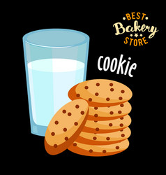 chocolate chip cookies and glass of hot milk vector image