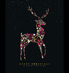 christmas and new year deer card made of gold icon vector image