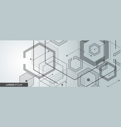 connected hexagon banner design vector image