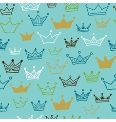 Crowns seamless pattern on blue background vector