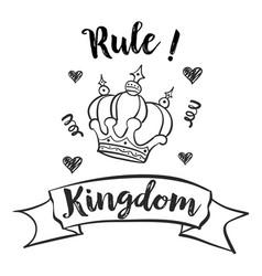 Cute crown sketch doodle style vector