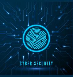 cyber security fingerprint scanning vector image