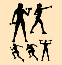 Detail sporty woman and man silhouettes vector