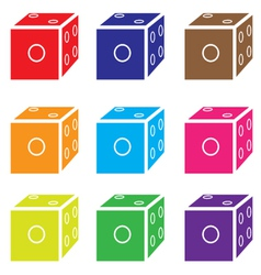 dice colored set vector image