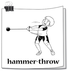 Doodle of people doing hammer-throw vector image