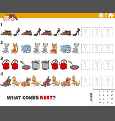 Educational pattern game for kids with objects vector