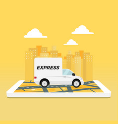Express delivery service truck on mobile phone vector