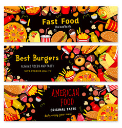 Fast food restaurant burgers banners set vector
