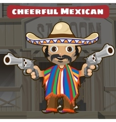 Fictional cartoon character - cheerful mexican vector image