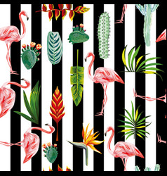 flamingo leaves flowers seamless striped vector image