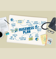 flat design concept for business plan vector image