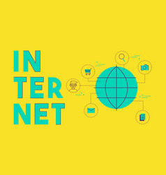 Global internet social media network concept vector