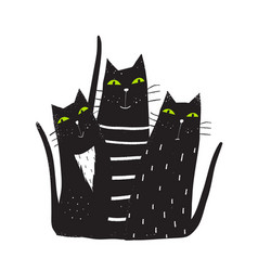 Group of black cats sitting vector