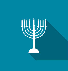 Hanukkah candles with long shadow vector