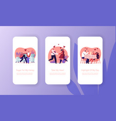 Happy loving couple dating mobile app page onboard vector