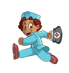 Health worker rushing to the job vector