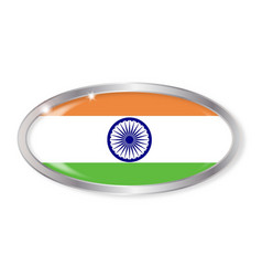 India flag oval button vector
