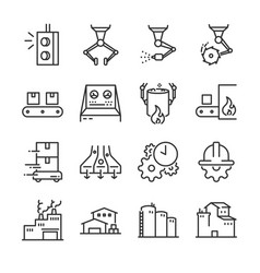 Industrial process icon set vector