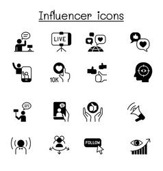 Influence people brand ambassador icon set vector