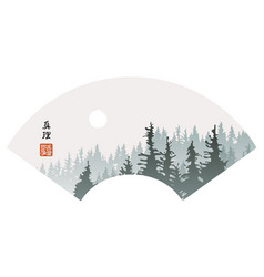 landscape in china style with hieroglyph vector image