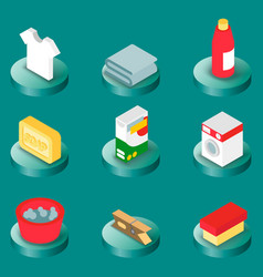 laundry flat isometric icons vector image