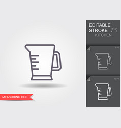 measuring cup line icon with editable stroke with vector image