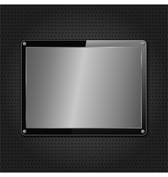 Metal plate on black background vector image