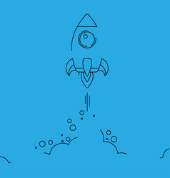 minimalistic rocket launch line icon rocket vector image