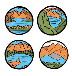 Mountain landscape icon set vector