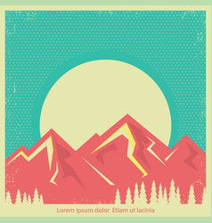 mountains landscape retro background for text vector image
