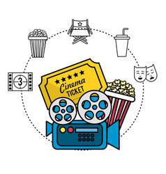 Movie camera with ticket and popcorn vector